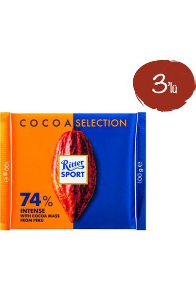 Ritter Sport Bitter Çikolata %74 100 G - 3 Paket