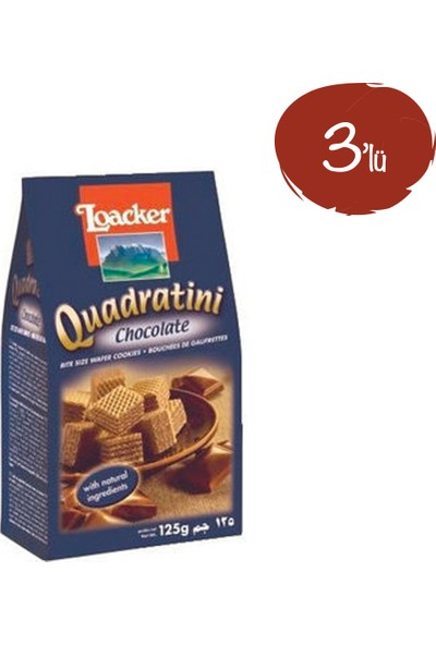 Loacker Quadratini Kakao 125 G - 3 Paket