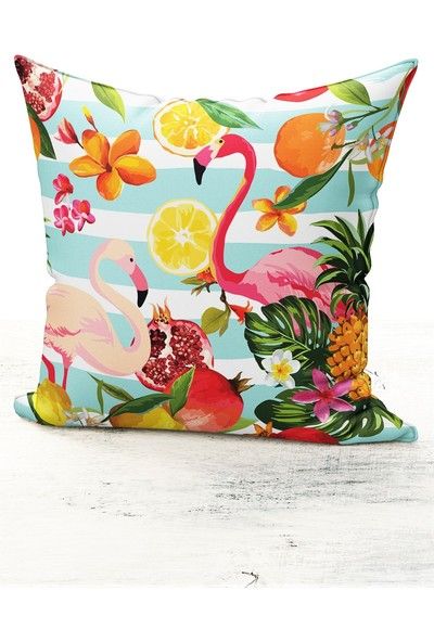 Bk Home Dekor Tropikal Flamingo Desen Kırlent Kılıfı