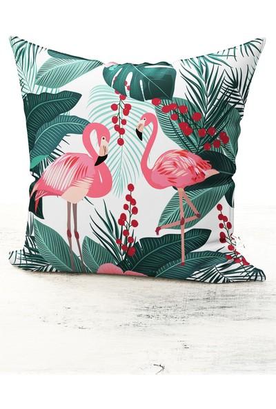 Bk Home Dekor Yeşil Yaprak Flamingo Desen Kırlent Kılıfı
