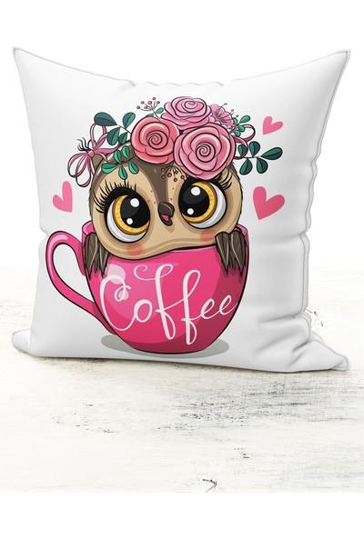 Bk Home Dekor Sevimli Baykuş Coffee Model Kırlent Kılıfı