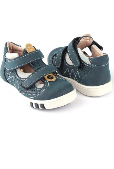 Şirin Bebe İlkadım Erkek Bebek Ayakkabı Yeşil Gri Turuncu