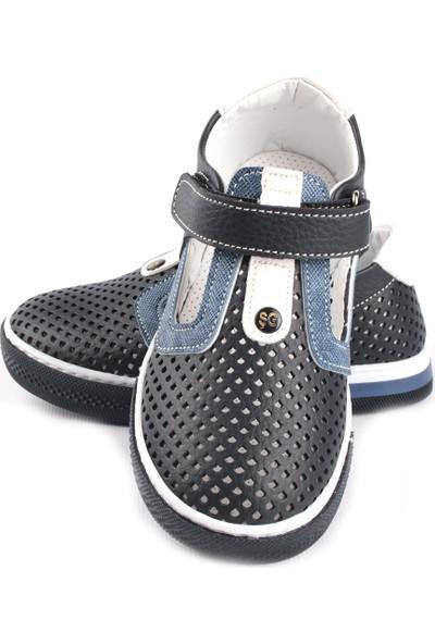 Şirin Bebe Delikli Genç Erkek Çocuk Yazlık Ayakkabı Lacivert Kot