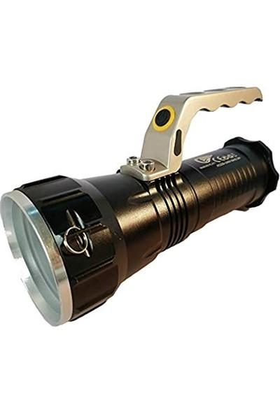 Italyano 677 Namlulu Büyük Işık Özellikli Şarjlı El Feneri Lüx Projektör