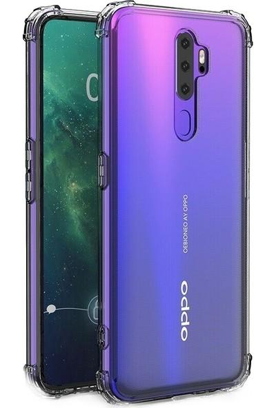 Teleplus Oppo A5 2020 Kılıf Darbe Korumalı Silikon - Şeffaf + Nano Ekran Koruyucu