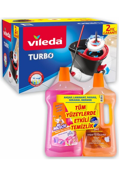 Vileda Turbo Pedallı Sistem + Pronto & Mr Muscle