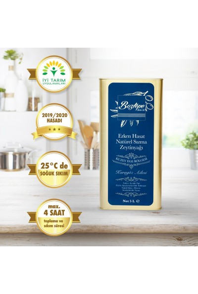 Boztepe İyi Tarım Sertifikalı 2019 Hasatı Natürel Sızma Filtresiz 2019 Erken Hasat Soğuk Sıkım Zeytinyağı 5 LT