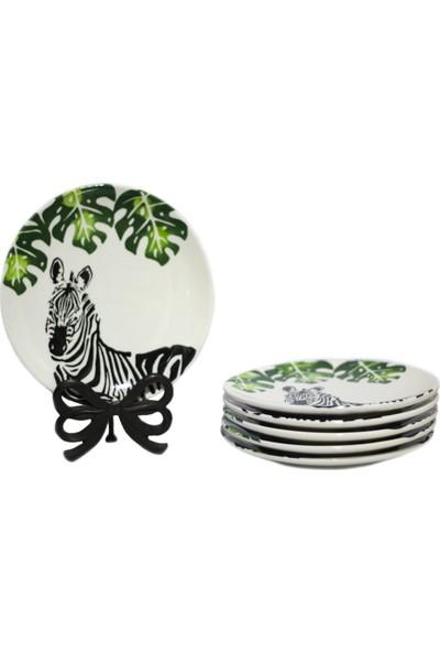 Şura Mutfak Pasta Tabağı 20 cm Zebra El Boyaması