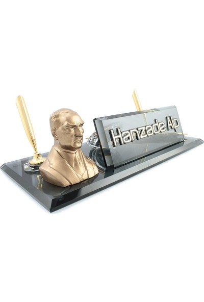 Reklam Atay Kişiye Özel Atatürk Biblolu Masa İsimliği