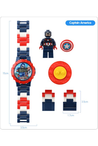 Can Ali Toys Süper Hero Kaptan Amerika Çocuk Kol Saati Seti