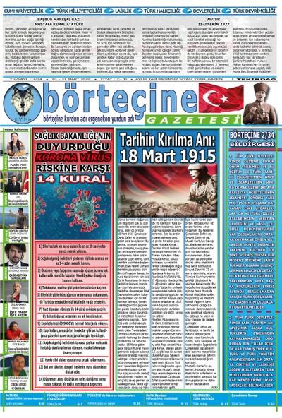 Börteçine Gazetesi - 2/34 Mart 2020