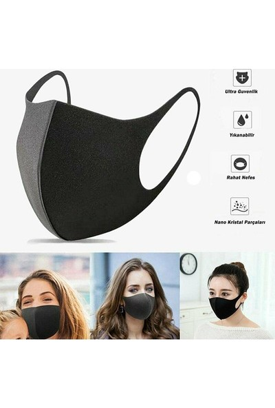 Nano Safe Yıkanabilir 3 Katlı Siyah Maske - 5 Adet
