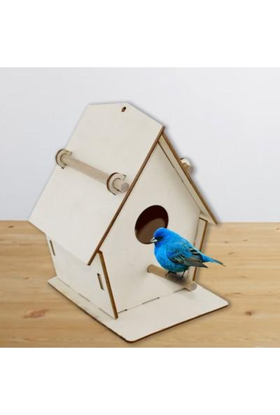 Ahşap Şehri Özel Tasarım Ahşap Dekoratif Boyanabilir Portatif Kuş Yuvası 21 cm x 18 cm x 14 cm
