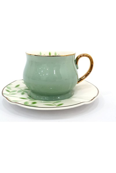 Vadi Yeşil Çiçekli Türk Kahvesi Fincanı Tek Kişilik
