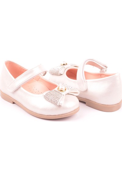 Akıllı Şirin Taş Rugan Kız Çocuk Babet Ayakkabı Sedef