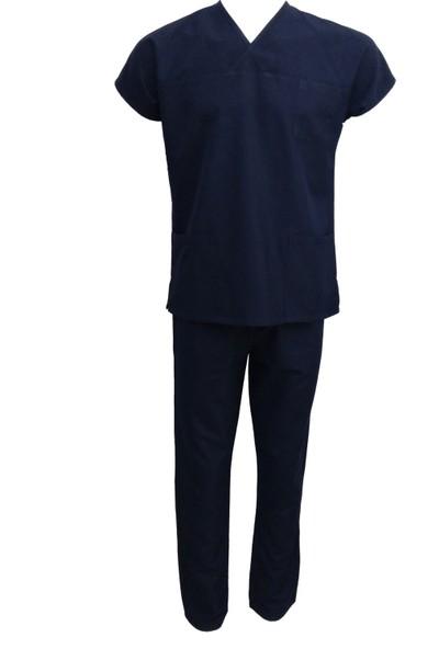 Palmiye Üniforma Erkek Alpaka Lacivert Hemşire Forması -Takım