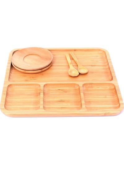 Paçi Bambu Bölmeli Servis Tabağı Kahvaltı ve Çerez Tabağı