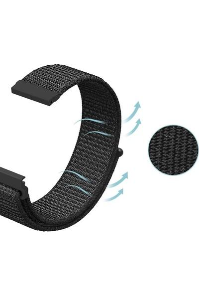 Gpack Samsung Galaxy Gear S3 46mm Kordon Kumaş CırtCırt Kordon Velcro Siyah