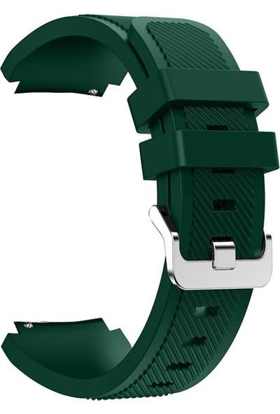 Gpack Huawei Watch GT2 46mm Kordon Silikon Çizgili Silikon Kançalı Yeşil