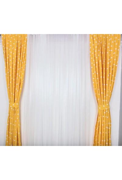 Odeon Sarı Yıldızlı Çocuk Odası Fon Perde 2 Kanat 75 x 250 cm