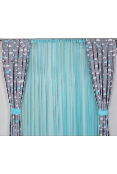 Odeon Gri Mint Bulutlu Çocuk Odası Fon Perde 2 Kanat 75 x 250 cm