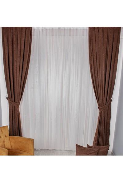 Odeon Kahverengi Kadife Düz Fon Perde 2 Kanat 75 x 250 cm