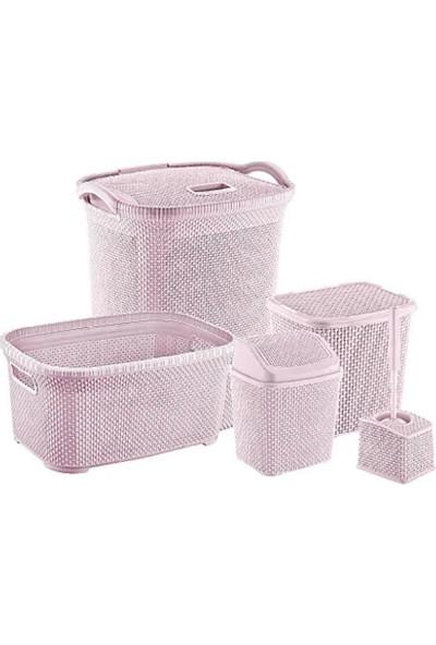 Özer Plastik Banyo Çeyiz Seti 5'li Petek Dokulu Özer Plastik Pembe