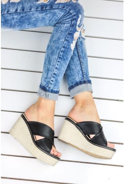 Awon Despina Siyah Dolgu Topuk Ayakkabı 37