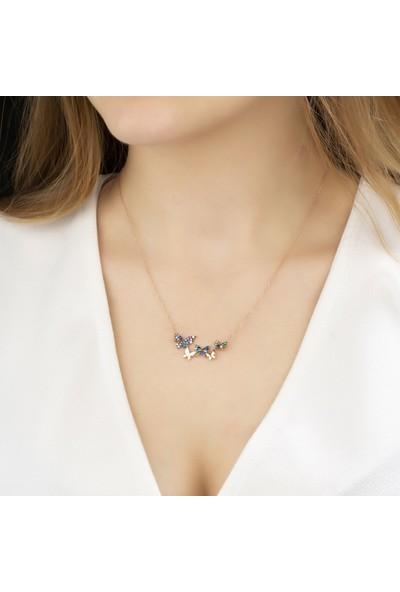Papatya Silver Renkli Taşlı Gümüş Kelebekler Kolye