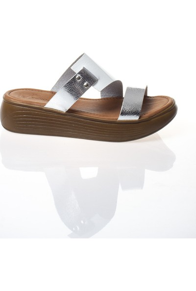 Modagon Arlegui Hakiki Deri Sandalet Beyaz-Platin