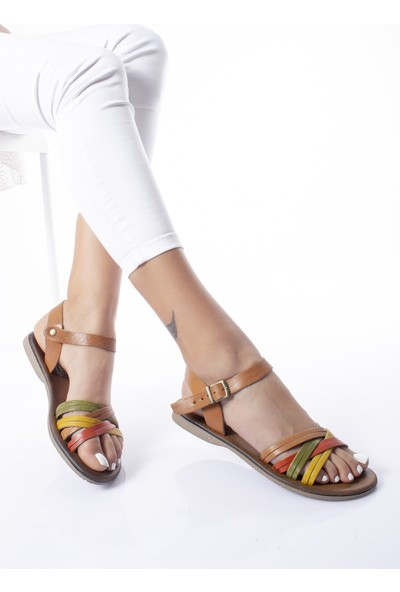 Modagon Cantoira Hakiki Deri Sandalet Mix