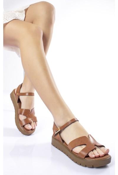 Modagon Leirado Hakiki Deri Sandalet Taba