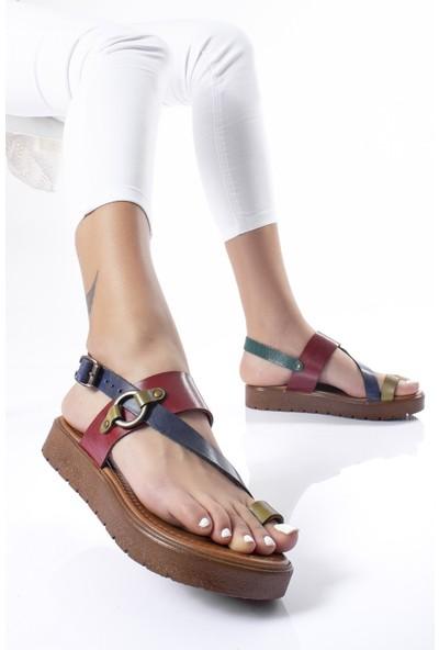 Modagon Thiviers Hakiki Deri Sandalet Mix