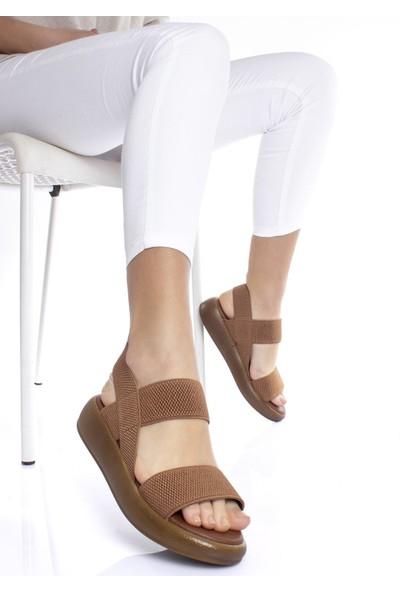 Modagon Seaton Lastikli Taba Kadın Sandalet