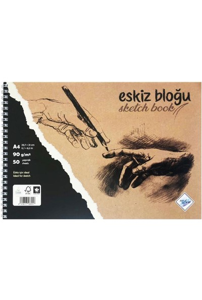 Art Liva Dokulu Eskiz Defteri 50 Sayfa A4 90 gr