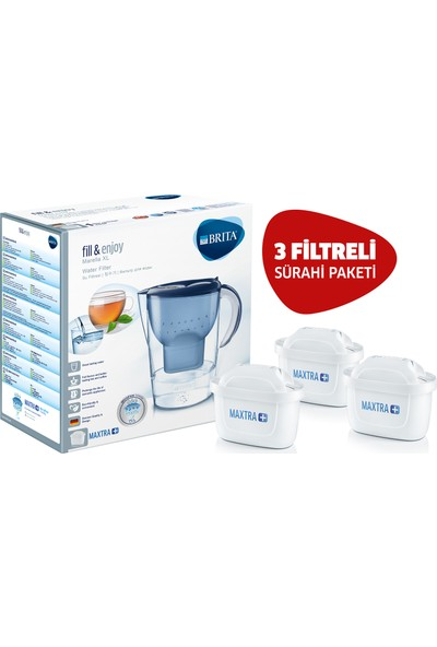 BRITA Mavi Marella XL 3 Filtreli Su Arıtmalı Sürahi Paketi