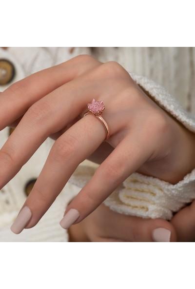 Papatya Silver Gümüş Lotus Çiçeği Taşlı Kadın Yüzüğü