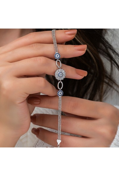 Papatya Silver Baget Taşlı Nazargöz Nano Zirkon Gümüş Bileklik