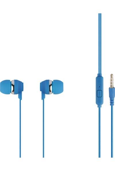 MF Product Acoustic 0092 Mikrofonlu Kablolu Kulak İçi Kulaklık Mavi