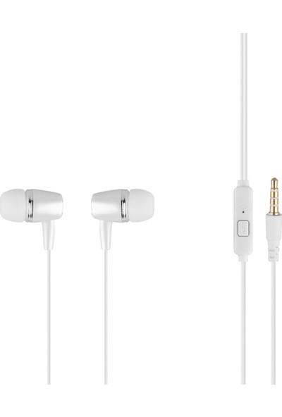 MF Product Acoustic 0100 Mikrofonlu Kablolu Kulak İçi Kulaklık Koyu Beyaz
