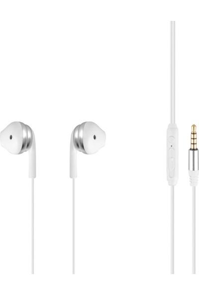 MF Product Acoustic 0156 Mikrofonlu Kablolu Kulak İçi Kulaklık Beyaz-Gri