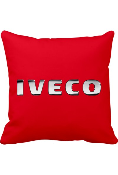 Asr Iveco Iveco Kamyon Saten Araç Yastığı Kırmızı ve Ahşap Anahtarlık