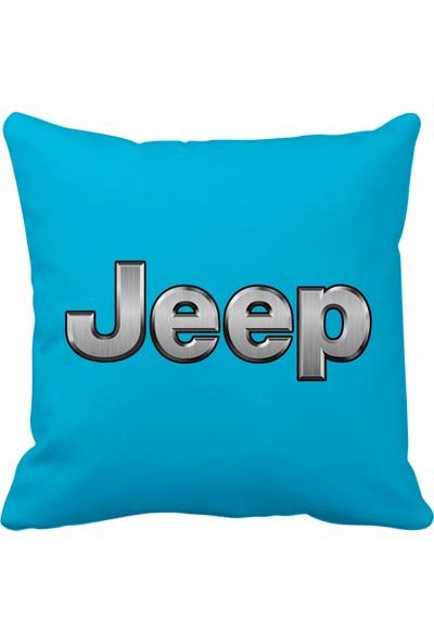 Asr Jeep Saten Araç Yastığı Mavi ve Ahşap Anahtarlık