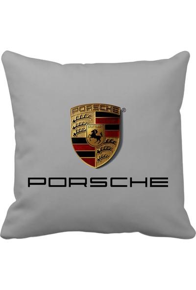 Asr Porsche Saten Araç Yastığı Gri ve Ahşap Anahtarlık