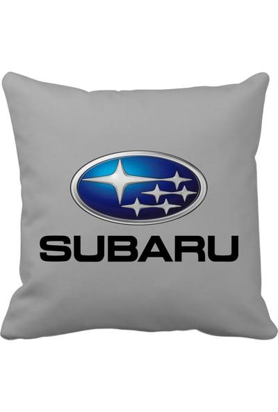 Asr Subaru Saten Araç Yastığı Gri ve Ahşap Anahtarlık