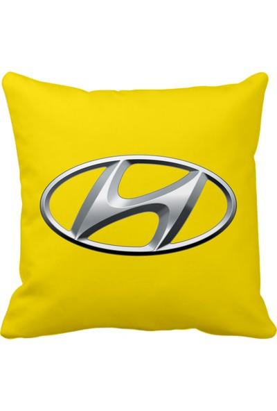 Asr Hyundai Logo Saten Araç Yastığı Sarı ve Ahşap Anahtarlık