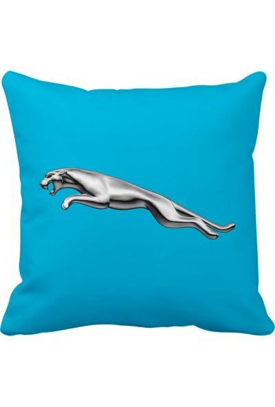 Asr Jaguar Logo Saten Araç Yastığı Mavi ve Ahşap Anahtarlık
