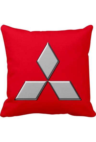 Asr Mitsubishi Logo Saten Araç Yastığı Kırmızı ve Ahşap Anahtarlık