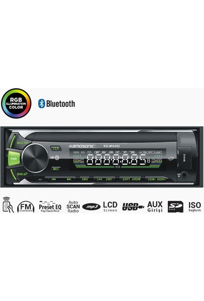 Kamosonic KS-MX452 4X50W Mp3 Sd Aux Bluetooth Teyp