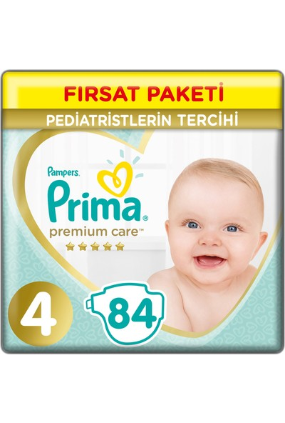 Prima Bebek bezi Premium Care 4 Beden 84 Adet JuniorFırsat Paketi